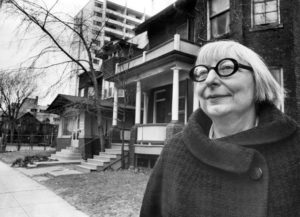 Jane Jacobs outside her home on Spadina Road just north of Bloor Street. Photo taken by Frank Lennon/Toronto Star Dec. 21, 1968.